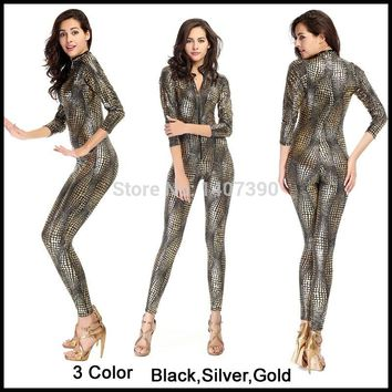 Free Shipping Sexy Faux Leather Snakeskin PVC Jumpsuits Women Role Playing Catsuit Black/Sliver/Gold Latex Bodysuit Club Costume