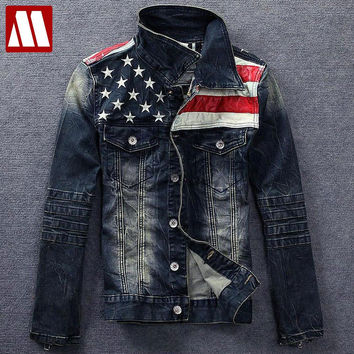New arrive American flag denim jacket for men Fashion motorcycle denim jackets