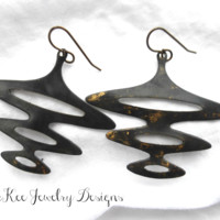 Funky drop metal earrings.
