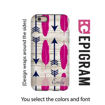 Boho iPhone 6s case, feathers and arrows personalized iPhone 6 plus case, iPhone 5c case, iPhone 5s case, 3D wrap around iPhone case