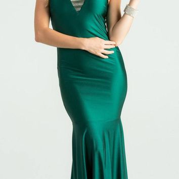 Hunter Green Trumpet Style V-Neck Long Formal Dress