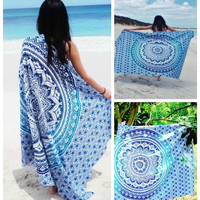 Aqua Ombre Yoga Beach Wall Boho Tapestry Blanket