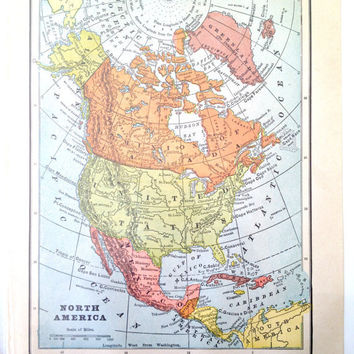 Vintage North America Map from 1890 by CasaAndCo on Etsy