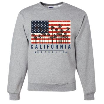 USA California Republic Palms Crewneck Sweatshirt