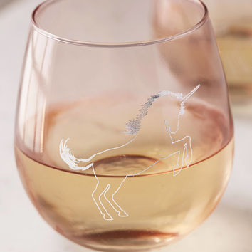 Metallic Unicorn Stemless Wine Glass Set | Urban Outfitters