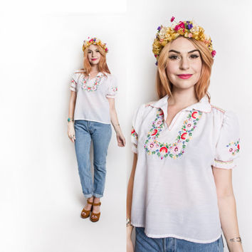 Vintage 1970s Peasant Blouse - White Cotton Embroidered Ethnic Boho Top - Small S