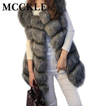 MCCKLE Women's Faux Fox Fur Vest J5020