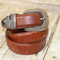 Brighton Leather Belt  Brown Medium Womens Made in USA (b)