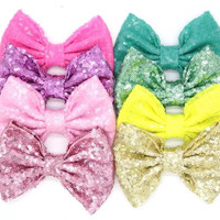 Sequin headband bow, sparkle sequin headband, floppy bow headband, messy bow headband, baby girls headband, Sparkle headband bow