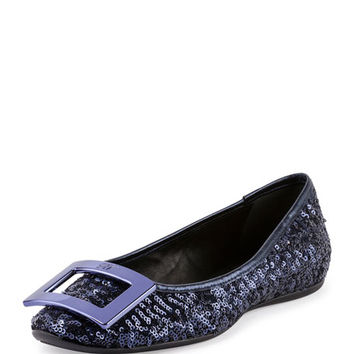 Roger Vivier Gommette Buckle Sequined Flat, Blue