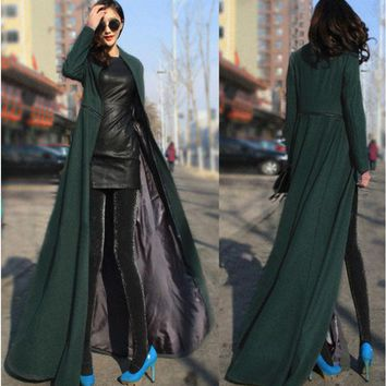 Womens Long Sleeve Maxi Dress Coat Floor Length Coat Plus Size Long Trench Coat