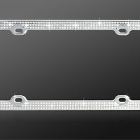 Triple Row Silver Crystal Rhinestone Stainless Steel License Plate Frame