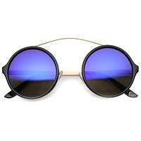 Retro High Cross Bar Mirror Lens Round Sunglasses 9842