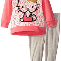 Hello Kitty Baby-Girls Newborn Tunic Flower Legging Set, New Pink, 6-9 Months