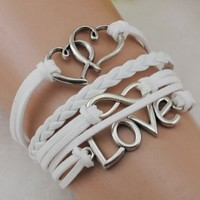Heart Love infinity Antique Silver korea velvet Leather Cute Bracelet B221