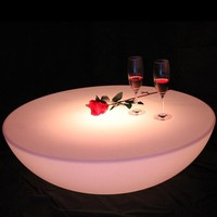 Colorful outdoor bar table set led plastic furniture battery round table(D60*H20cm) Free Shipping