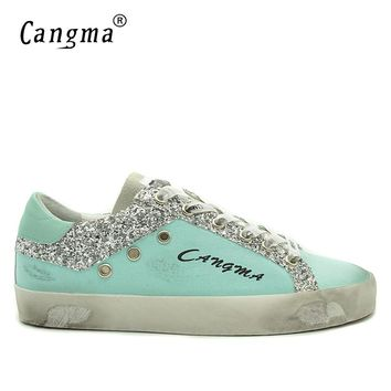 CANGMA Luxury Men Sneakers Canvas Casual Shoes Blue Genuine Leather Footwear Male Adult Designer Shoes For Men Sequin Shoe Man
