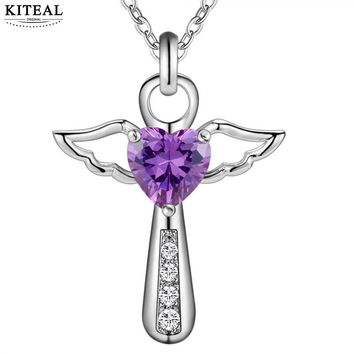 KITEAL 2018 Silver Plated Zircon Jesus Cross Love Angel Heart Wing 18inch Pendant Necklace for Women Jewelry High Quality