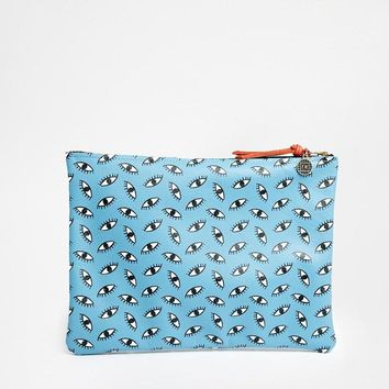 Falconwright | Falconwright Leather Clutch in Blue Eye Print at ASOS