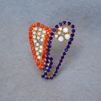 Red, White and Blue Stylized Rhinestone Heart Brooch Vintage