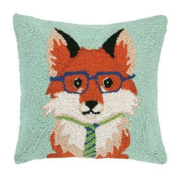 Fox with Tie and Glasses Hook Pillow