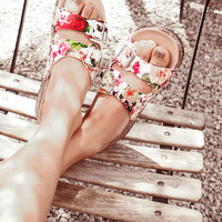 FLORAL BUCKLE SLIP ON SANDALS