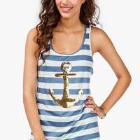 A'GACI Sequin Anchor Stripe Tank - TOPS