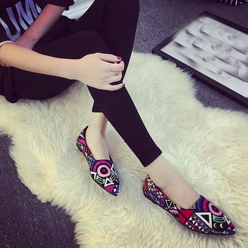 Vintage Women Loafers Shoes Female Fashion Casual Shoes Flat Ankle Multicolor All Seasons Ballet Slip On Flats Size 35-39