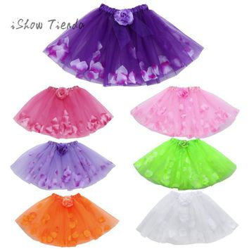 ISHOWTIENDA dance Floral Ballet tulle dress Party dress of anger performance Princess costume Ball Gown child dress girls alsa