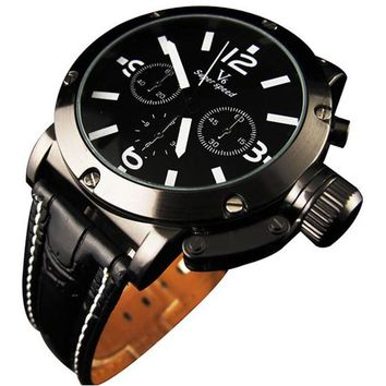 New Sport Style Black Dial Leather Strap Men's Quartz Wrist Watch