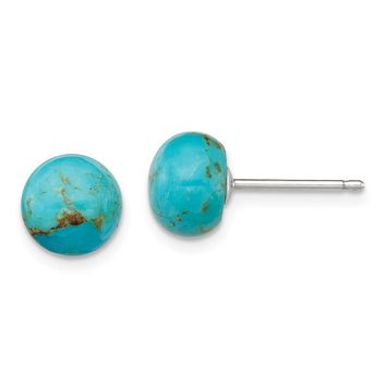 8-8.5mm Button Turquoise Sterling Silver Stud Earrings