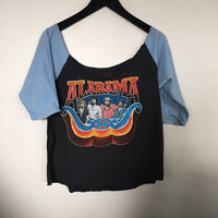 Alabama shirt, vintage t shirt, 80s vintage band tee, baseball tee, rock band shirts, rock tees cut off scoop neck tshirt black blue t-shirt