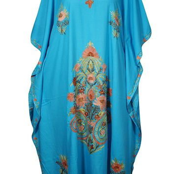 Womens Fern Kashmiri Caftan Floral Embroidered Cover Up Kaftan Evening Maxi Dress: Amazon.ca: Clothing & Accessories