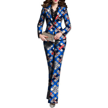 Fashion african print women blazers and trousers set elegant pant+blazer sets dashiki casual suit africa clothing