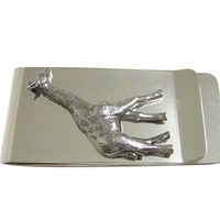 Silver Toned Textured Giraffe Money Clip