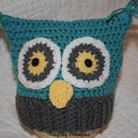 Crochet Baby Owl Hat - Teal and Gray size 0-3 month Ready to Ship