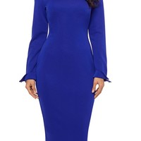 Blue Lapel Neck Formal Office Pencil Dress