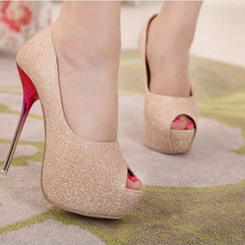 Ultra Peep Toe High Heels