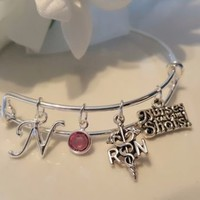 Personalized, RN, Registered Nurse,  Bangle Bracelet, Medical Bracelet