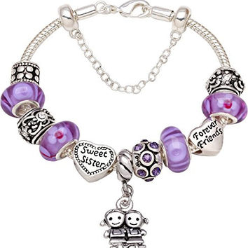 """Sweet Sister Forever Friend"" Love Heart Bead Charm Bracelet"