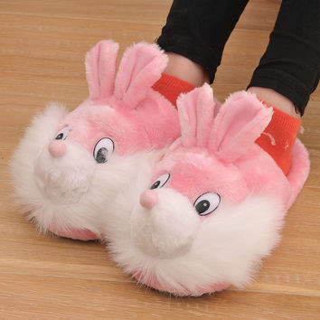 2017 New Winter Cotton Fabric Women Slippers  Animal Prints Cartoon Lovely Squirrel Smile Home Slippers Pink Free Size 35-40