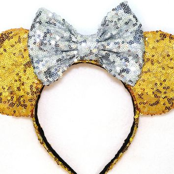 Gold Sequin Ears and Silver Bow