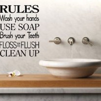 Bathroom Rules Decal Sticker Wall Art Graphic Room