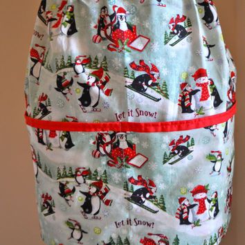 Penguin apron, Christmas apron, Christmas egg collecting apron, Women's half apron with penguins and snowmen in winter, bakers apron