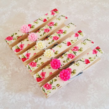 Pink Roses Fabric Decorative Clothespins with Resin Flowers - Magnets, Thumbtacks, or Plain for Refrigerators, Fridge, Cubicle Decor, Dorm