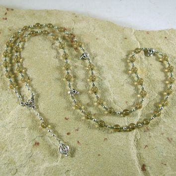 Persephone Prayer Bead Necklace in Smoky Quartz: Greek Goddess of Spring, Death, the Afterlife