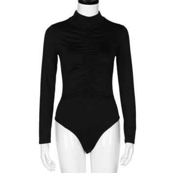 Bodysuits Women  Turtleneck Long Sleeve Black White Bodycon Overalls Rompers Womens Slim Bodysuit combinaison femme &23 GS