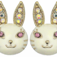 White Rabbit Bunny Rhinestone Stud Earrings