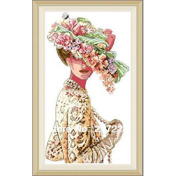 High Quality Counted Cross Stitches Kit The Victorian Elegance Fashion Lady with Hat, Flower lady DIM 03823