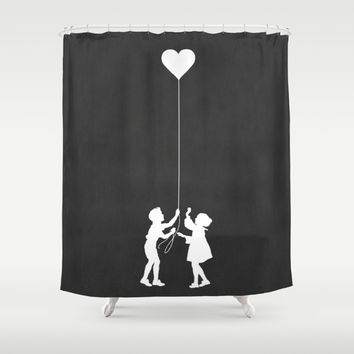 Love Balloon monochrome Shower Curtain by Budi Satria Kwan